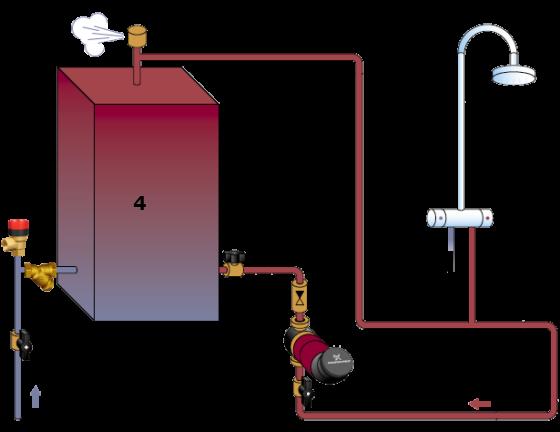 Типовая схема Циркуляции воды в системах ГВС.  Циркуляция в системе ГВС...  Теплообменник, котёл, водонагреватель и...