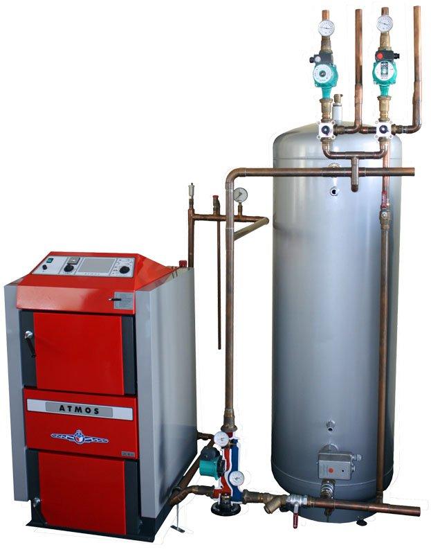 Каталог теплоаккумуляторов.  Интерактивная схема системы отопления с твердотопливным котлом.
