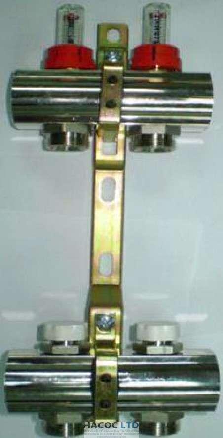 Коллекторная група Luxor с расходомерами и отсекающими клапанами (3 выхода)