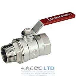 Шаровой клапан со стандартным проходом, с красной L-рукояткой, хромированный с внешней и внутренней резьбой GIACOMINI 1