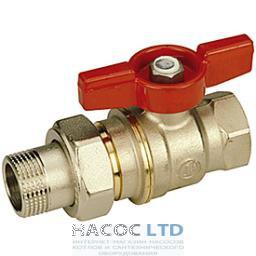 Полнопроходной шаровой клапан, с внешней и внутренней резьбой с красной T-образной рукояткой, никелированный GIACOMINI 1