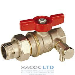 Полнопроходной шаровой клапан, с отводом и сливом, с красной T-образной рукояткой, никелированный GIACOMINI 1