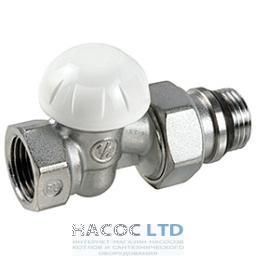 Проходной отсечный клапан, хромированный с винтовыми соединениями, с отводами с герметичной прокладкой GIACOMINI 1