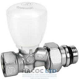 Проходной микрометрический термостатический клапан, хромированный, с отводами с герметичной прокладкой GIACOMINI 3/8
