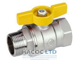 Шаровой клапан со стандартным проходом, с желтой Т-рукояткой, хромированный с внешней и внутренней резьбой GIACOMINI 1/2