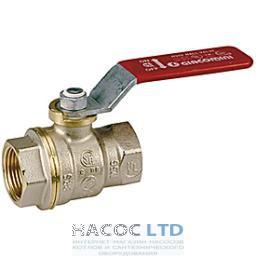 Полнопроходной шаровой клапан с красной L-образной рукояткой, никелированный GIACOMINI 4