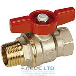 Полнопроходной шаровой клапан, с внешней и внутренней резьбой с красной T-образной рукояткой, никелированный GIACOMINI 3/8