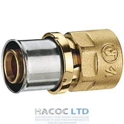 Проходной пресс фитинг с внутренней резьбой для труб GIACOTHERM, GIACOFLEX, никелированный, 32Х3 GIACOMINI 1
