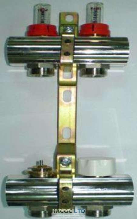 Коллекторная група Luxor с расходомерами и термо клапанами м30х1,5 (3 выхода)