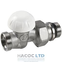 Проходной отсечный клапан хромированный, с отводами с герметичной прокладкой GIACOMINI 1/2
