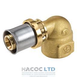 Коленчатый фитинг 90° с внутренней резьбой для труб GIACOTHERM, GIACOFLEX, никелированный, 26Х3 GIACOMINI 3/4
