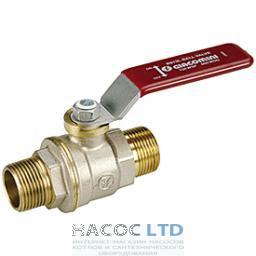 Полнопроходной шаровой клапан, с внешней резьбой с красной L-образной рукояткой, никелированный GIACOMINI 3/8