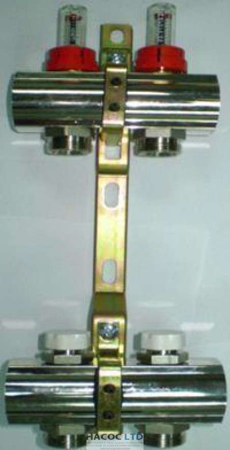 Коллекторная група Luxor с расходомерами и отсекающими клапанами (5 выходов)