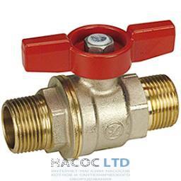 Полнопроходной шаровой клапан, с внешней резьбой с красной T-образной рукояткой, никелированный GIACOMINI 1