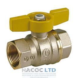 Полнопроходной шаровой клапан с желтой T-образной рукояткой, никелированный GIACOMINI 1