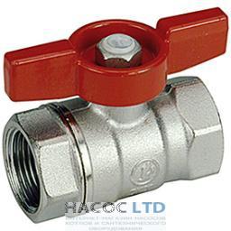 Полнопроходной шаровой клапан с красной T-образной рукояткой, никелированный GIACOMINI 1/2