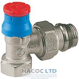 Угловой термостатический клапан, хромированный, с подводом стальной трубы, с отводом с герметичной прокладкой и защитным колпачком GIACOMINI 1