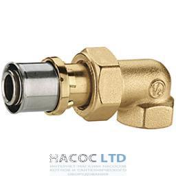 Коленчатый фитинг-переходник 90° с внутренней резьбой для труб GIACOTHERM, GIACOFLEX, никелированный GIACOMINI 3/4