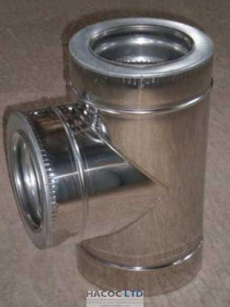 Тройник теплоизолированный в оцинкованном кожухе из нержавеющей стали (сталь марки 430)