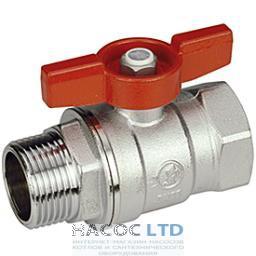 Шаровой клапан со стандартным проходом, с красной Т-рукояткой, хромированный с внешней резьбой GIACOMINI 1/2