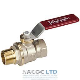 Полнопроходной шаровой клапан, с внешней и внутренней резьбой, с красной L-образной рукояткой, никелированный GIACOMINI 1