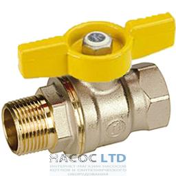 Полнопроходной шаровой клапан, с внешней и внутренней резьбой с желтой T-образной рукояткой, никелированный GIACOMINI 1